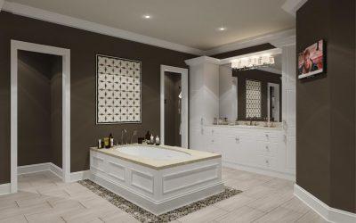 Det elegante badeværelse; almue fodlister og sorte fliser